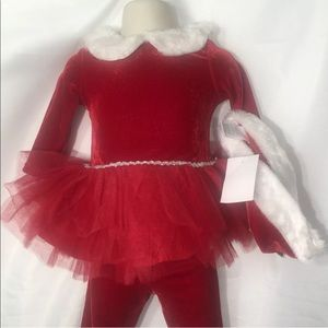 Girls 12 months Red Velour Santa Outfit 12 Months